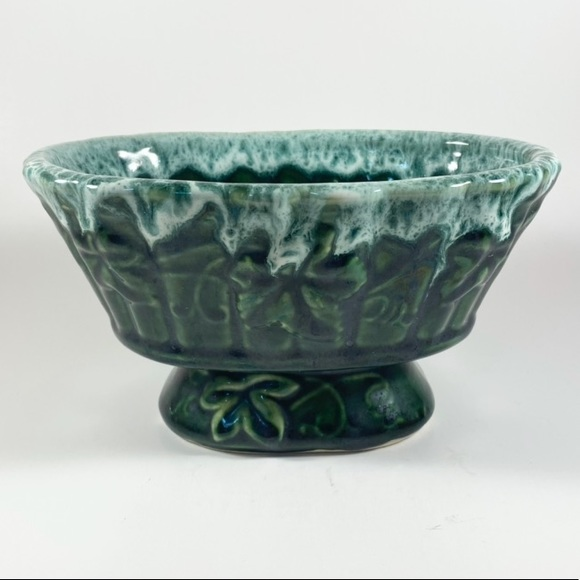 Vintage green ceramic planter pot